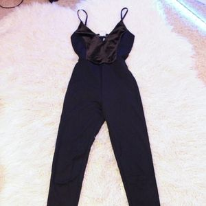 H&M Black Velvet Jumpsuit | Size 2